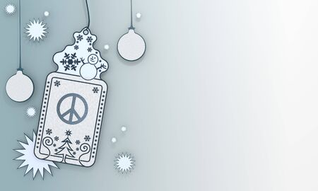 peacefully illustration of a christmas label with peace card in front of a ice blue background with gradient to white and space for own content and text illustration