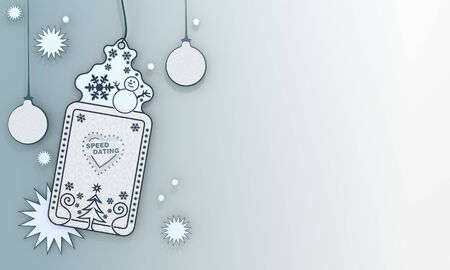 speed dating:  illustration of a christmas label with speed dating symbol in front of a ice blue background with gradient to white and space for own content and text