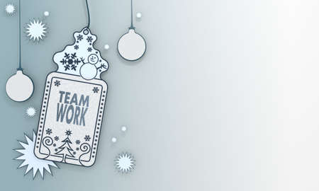 together illustration of a christmas label with Teamwork sign in front of a ice blue background with gradient to white and space for own content and text illustration