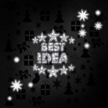 think tank: creative stylish best idea symbol in black white with xmas icons in the background and presents and glaring stars