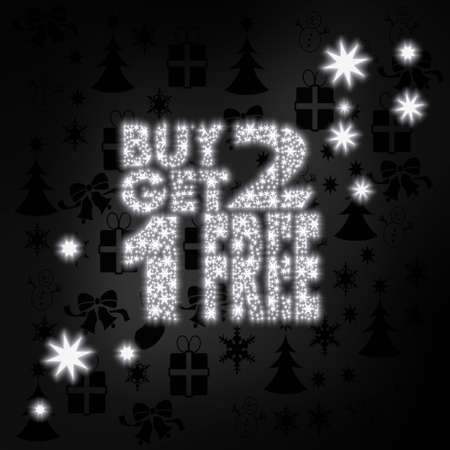 get one: seasonal stylish buy two get one free label in black white with xmas icons in the background and presents and glaring stars