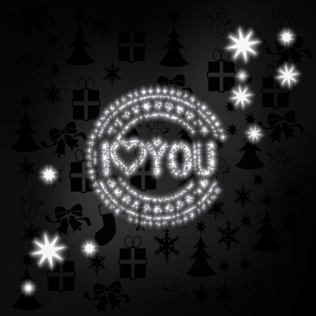 i label: festive stylish I love you label in black white with xmas icons in the background and presents and glaring stars Stock Photo