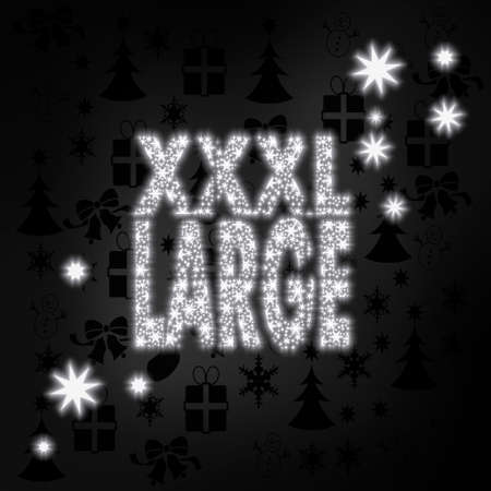 xl: large stylish XL symbol in black white with xmas icons in the background and presents and glaring stars Stock Photo