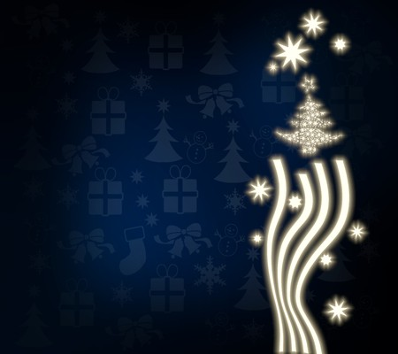autumnn: decorative noble abstract christmas tree background in dark blue with christmas symbols and presents and glaring stars