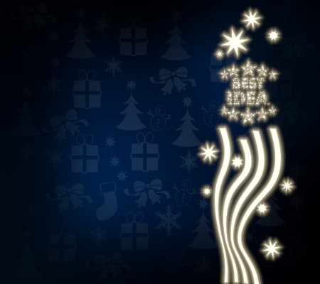 think tank: luxury noble best idea background in dark blue with christmas symbols and presents and glaring stars