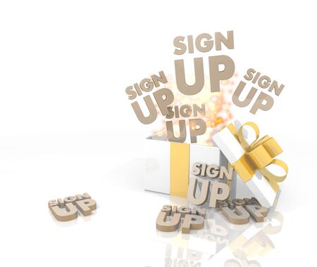 sign up icon: isolated 3d rendered gift on white background with glittering sign up icon coming out of it Stock Photo