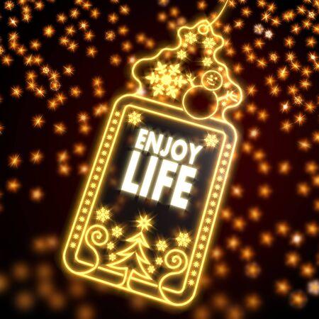 enjoy life: decorativo meraviglioso Natale con carta di godersi la vita adesivo su sfondo nero con le stelle abbaglianti