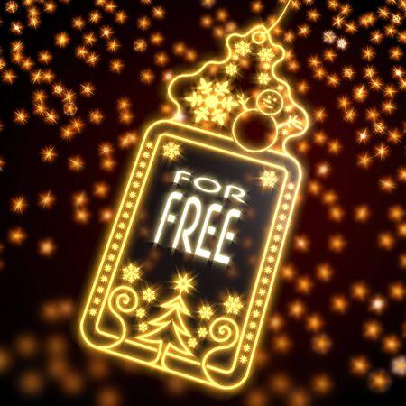 luxury wonderful christmas card with free sign on black background with glaring stars photo
