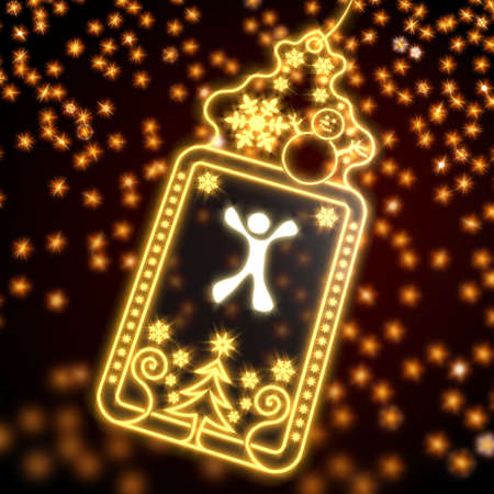 luxury wonderful christmas card with happy character symbol on black background with glaring stars photo