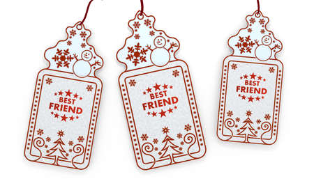 three 3d rendered shopping christmas cards with best friend sign isolated on white background  photo