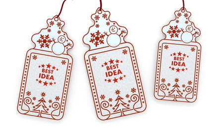 think tank: three 3d rendered shopping christmas cards with best idea sign isolated on white background