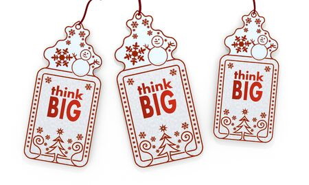 three 3d rendered shopping christmas cards with think big sign isolated on white background