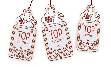 arcane: three 3d rendered shopping christmas cards with top secret sign isolated on white background