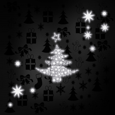 autumnn: decorative stylish abstract christmas tree symbol in black white with xmas icons in the background and presents and glaring stars Stock Photo