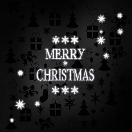 luxury stylish Merry Christmas symbol in black white with xmas icons in the background and presents and glaring stars photo
