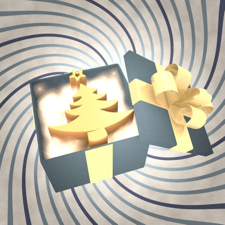 autumnn: vintage 3d rendered xmas present with abstract christmas tree symbol inside on a helix vintage background Stock Photo