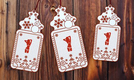 ornamental 3d rendered christmas labels with free sticker in front of a nice wooden background photo