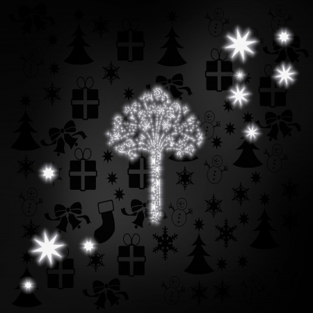 autumnn: art nouveau stylish abstract tree label in black white with xmas icons in the background and presents and glaring stars