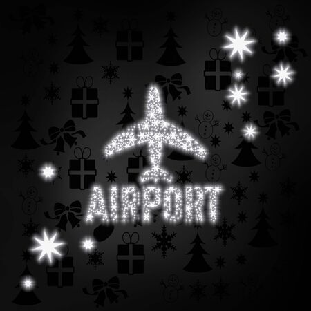festive stylish airport symbol in black white with xmas icons in the background and presents and glaring stars