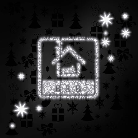 breakfast in bed: decorative stylish bed and breakfast symbol in black white with xmas icons in the background and presents and glaring stars