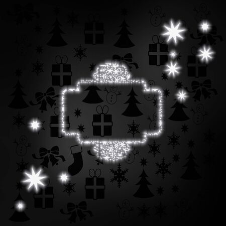 curlicue: festive stylish curlicue label label in black white with xmas icons in the background and presents and glaring stars