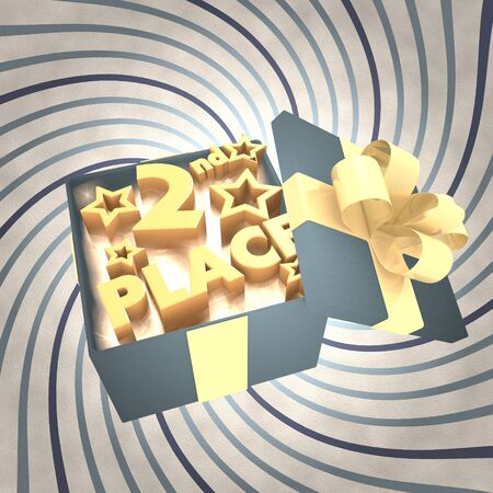 third birthday: vintage 3d rendered xmas present with 2nd place icon inside on a helix vintage background