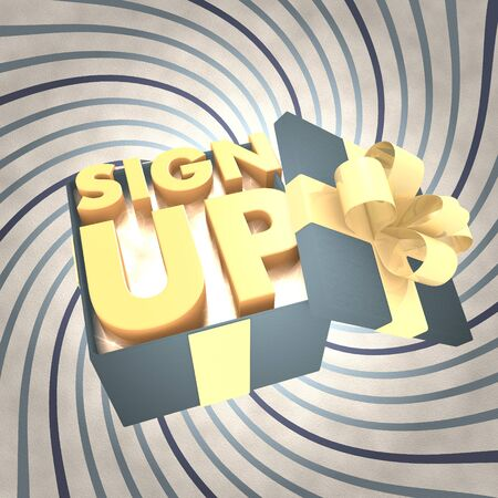 sign up icon: vintage 3d rendered xmas present with sign up icon inside on a helix vintage background