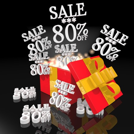 nitfy 3d christmas present with magic sparks and Christmas sale 80 percent off symbol on black background  photo