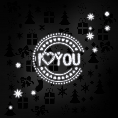 decorative stylish I love you label in black white with xmas icons in the background and presents and glaring stars photo