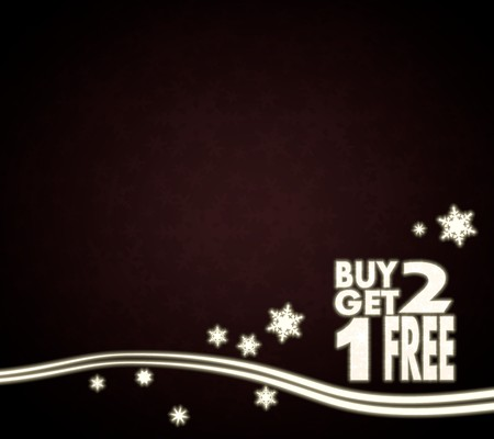 festive noble buy two get one free template in dark red with christmas snowflakes and glaring stars photo