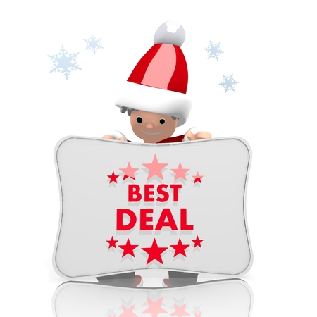a childish Santa Claus boy character presents a best deal label on a board isolated on white background with snowflakes photo