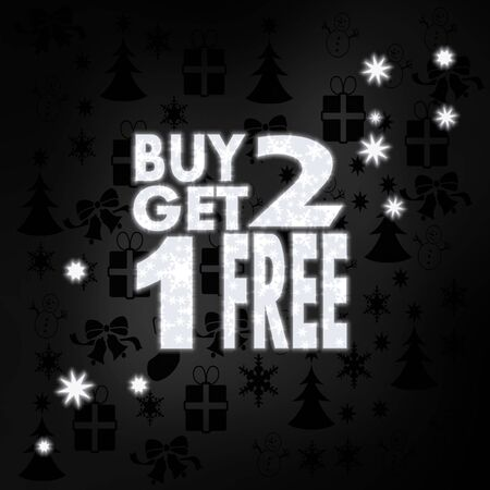 get one: luxury stylish buy two get one free label in black white with xmas icons in the background and presents and glaring stars Stock Photo