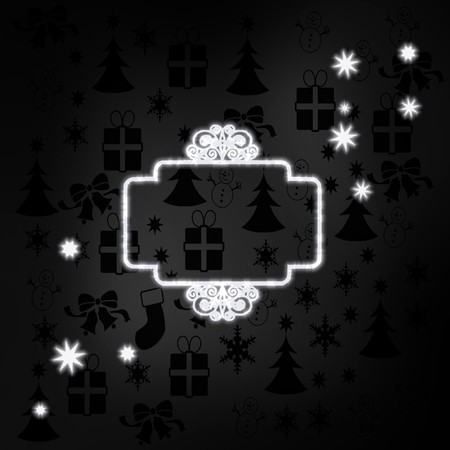 curlicue: decorative stylish curlicue label label in black white with xmas icons in the background and presents and glaring stars Stock Photo