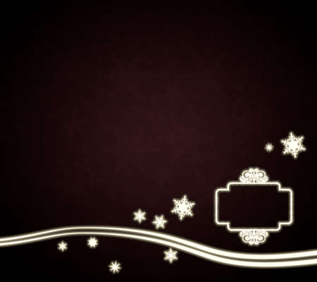 curlicue: festive noble curlicue label background in dark red with christmas snowflakes and glaring stars