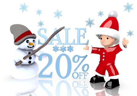 a 3d rendered cute Santa Claus and a snowman present a Christmas sale 20 percent off sign isolated on white background with snowflakes
