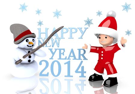 a 3d rendered cute Santa Claus and a snowman present a happy new year symbol isolated on white background with snowflakes photo