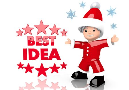 think tank: a creative Santa Claus boy character presents a best idea symbol isolated on white background with snowflakes