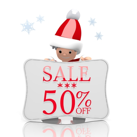 santaclaus: a cute Santa Claus boy character presents a Christmas sale 50 percent off symbol on a board isolated on white background with snowflakes