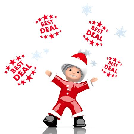 a cute Santa Claus boy rendered character juggles four best deal sign isolated on white background with snowflakes photo
