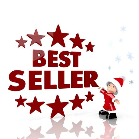 a cute Santa Claus boy standing in front of a huge best seller symbol isolated on white background with snowflakes