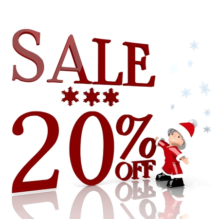 a cute Santa Claus boy standing in front of a huge Christmas sale 20 percent off label isolated on white background with snowflakes