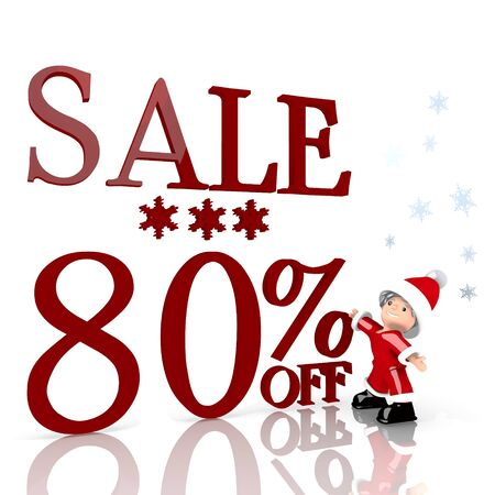 a tiny Santa Claus boy standing in front of a huge Christmas sale 80 percent off sign isolated on white background with snowflakes photo