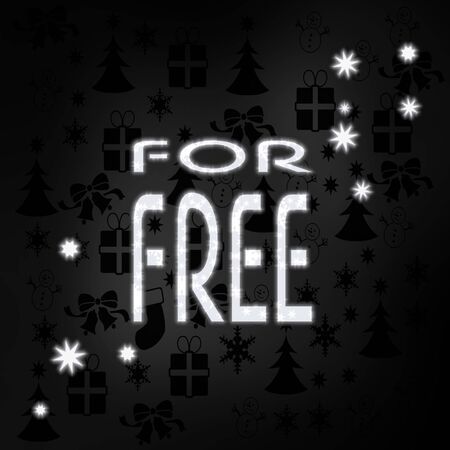 best price stylish free symbol in black white with xmas icons in the background and presents and glaring stars photo