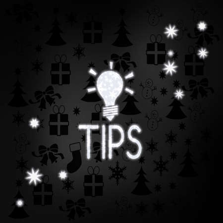 festive stylish tip symbol in black white with xmas icons in the background and presents and glaring stars photo
