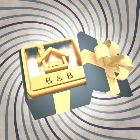 breakfast in bed: vintage 3d rendered xmas present with bed and breakfast symbol inside on a helix vintage background Stock Photo