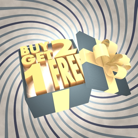 get one: vintage 3d rendered xmas present with buy two get one free symbol inside on a helix vintage background