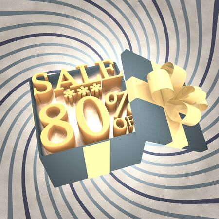 vintage 3d rendered xmas present with Christmas sale 80 percent off icon inside on a helix vintage background photo