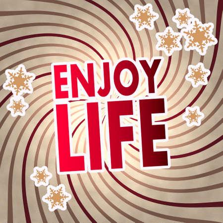 enjoy life: epoca in legno stagionale godersi simbolo di vita sul vecchio stile retr� di fondo con i fiocchi di neve