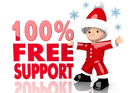 a little Santa Claus boy character presents a 100 percent free support sign isolated on white background with snowflakes