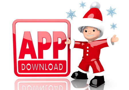 a cute Santa Claus boy character presents a app download symbol isolated on white background with snowflakes photo